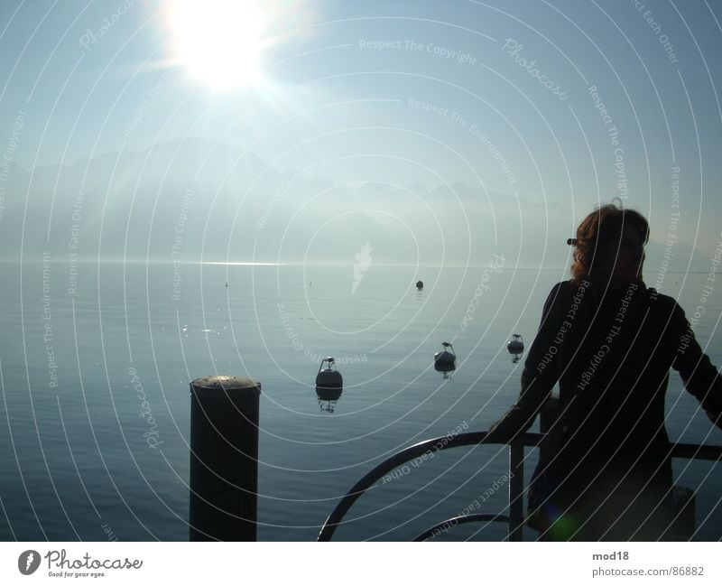 Woman Water Sun Ocean Far-off places Lake Wind Infinity Footbridge