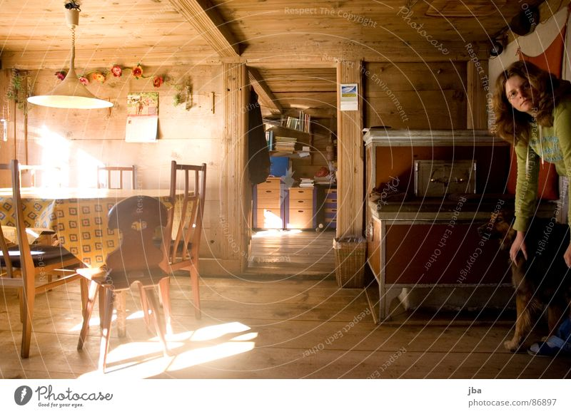 cosy parlour! Wooden chair Lighting House (Residential Structure) Cozy Dining room Table Wooden table Joist Window Iron Woman Bookshelf Living room plank sutra