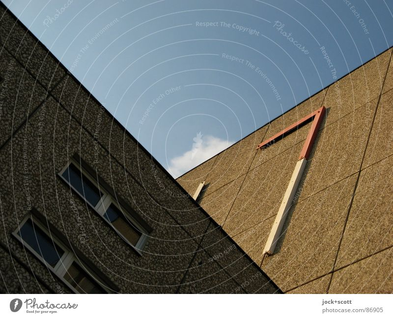 Facade or also What is it? Lichtenberg built Prefab construction Sharp-edged Hideous Nerdy Brown Perspective Politics and state Irritation Geometry Utopian
