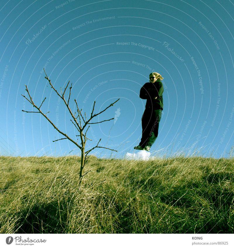 Sky Man Blue Green Tree Joy Clouds Meadow Grass Movement Jump Flying Aviation Cool (slang) Branch Twig