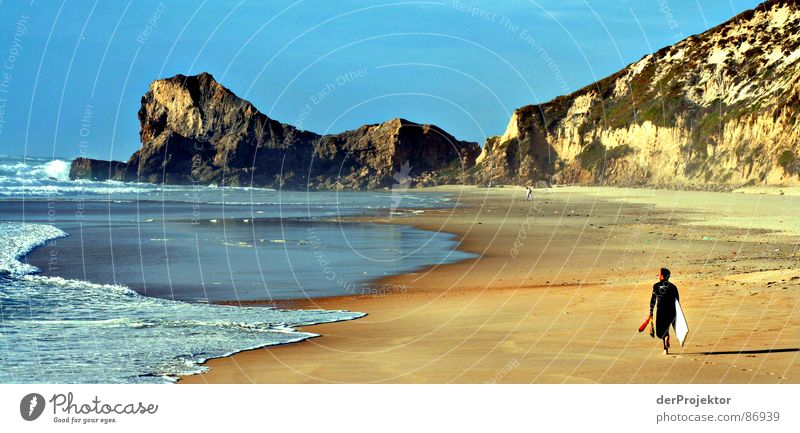 Man Sky Ocean Blue Yellow Autumn Mountain Sand Waves Coast Europe Surfing Surfer Portugal