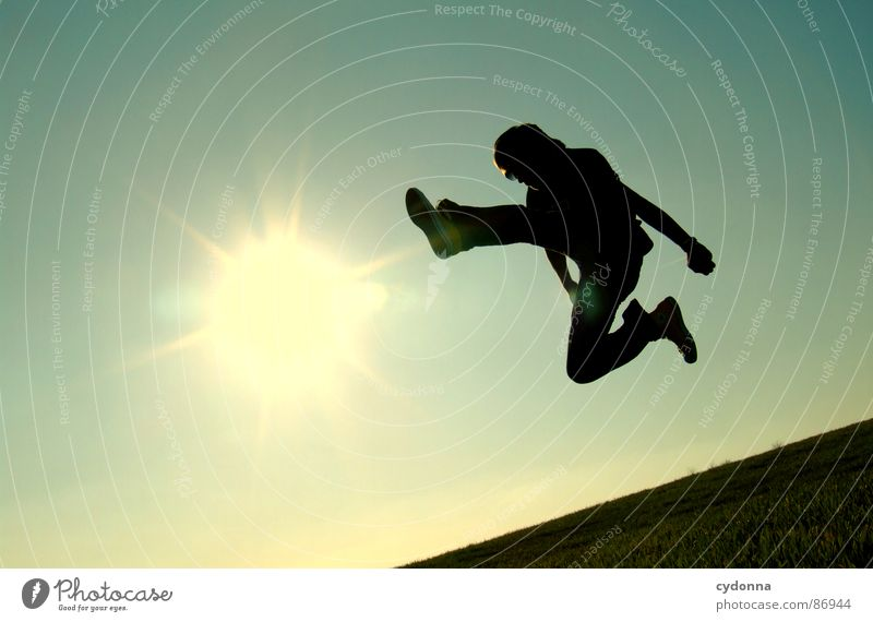 Human being Sky Nature Green Sun Joy Landscape Meadow Emotions Freedom Grass Movement Style Flying Posture Blade of grass