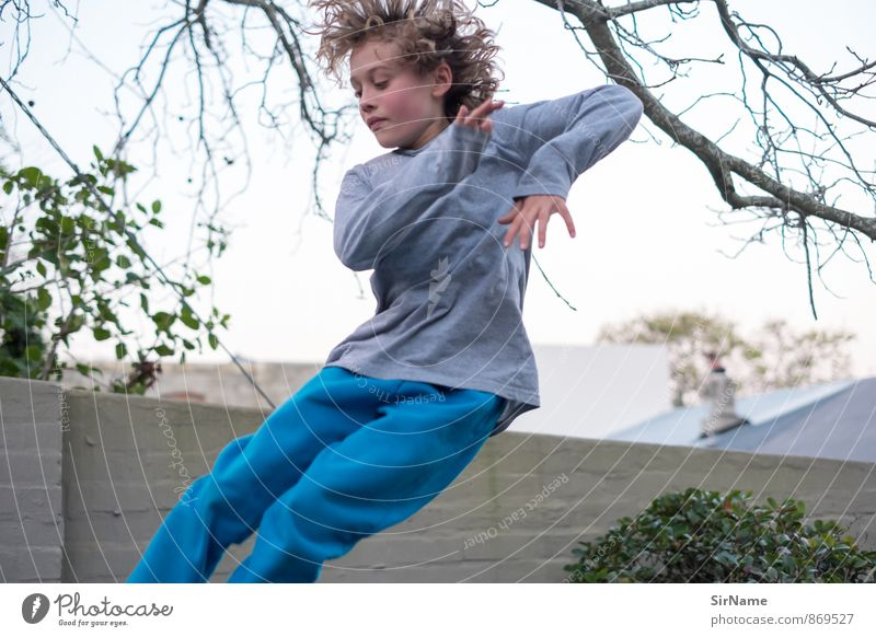 Human being Child Beautiful Joy Wall (building) Life Boy (child) Wall (barrier) Playing Garden Flying Jump Leisure and hobbies Living or residing Wild Infancy