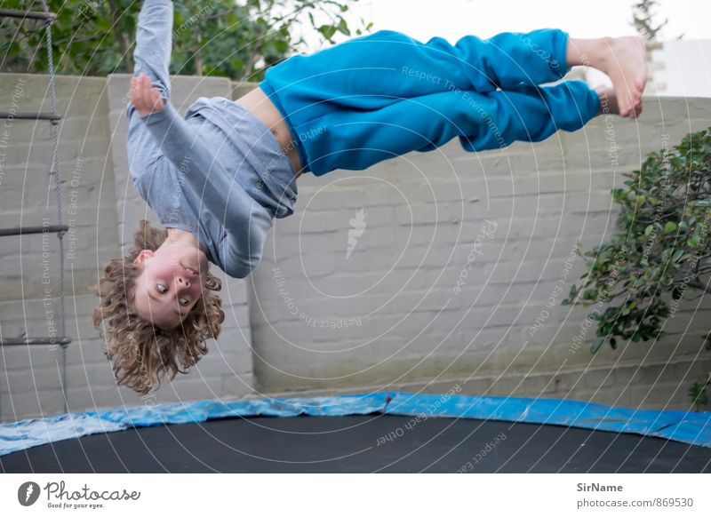 Human being Child Joy Wall (building) Life Boy (child) Sports Wall (barrier) Natural Playing Garden Flying Jump Leisure and hobbies Infancy Speed