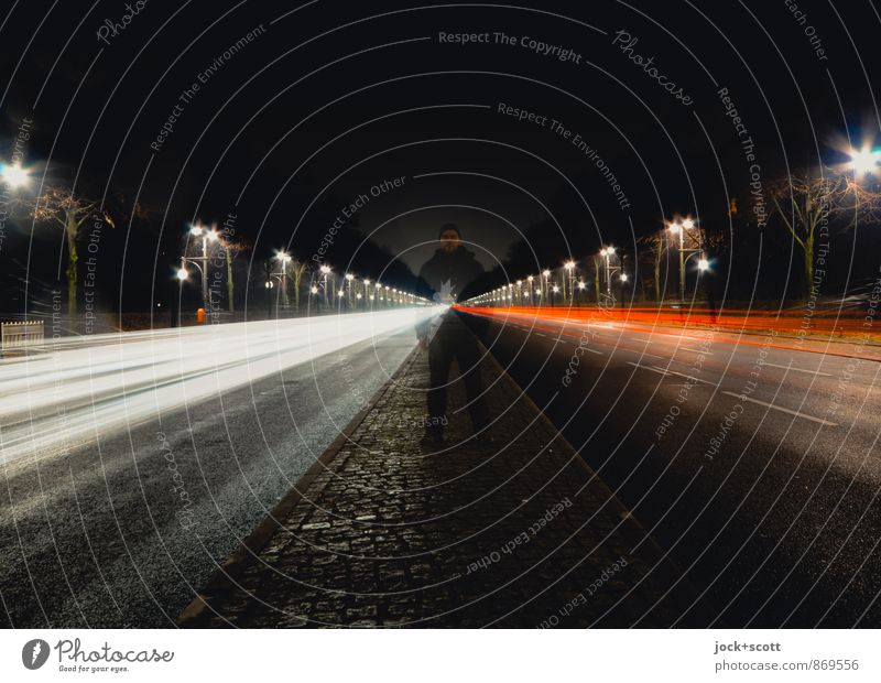 17 June at night Street Median strip Illuminate Stand Cold Identity Center point Mobility Symmetry Double exposure Tracer path Spirited Street lighting