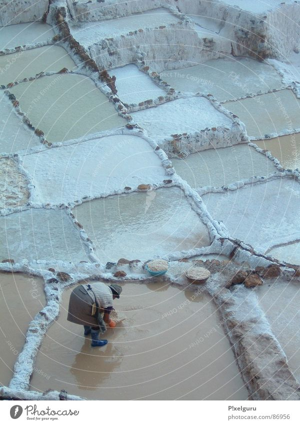 Woman Water Work and employment Basket Basin Salt South America Peru Ladle