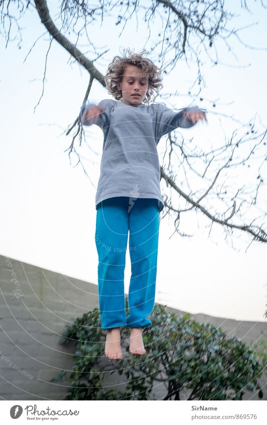 Human being Sky Child Nature Youth (Young adults) Wall (building) Life Boy (child) Sports Wall (barrier) Playing Garden Jump Leisure and hobbies Infancy Speed