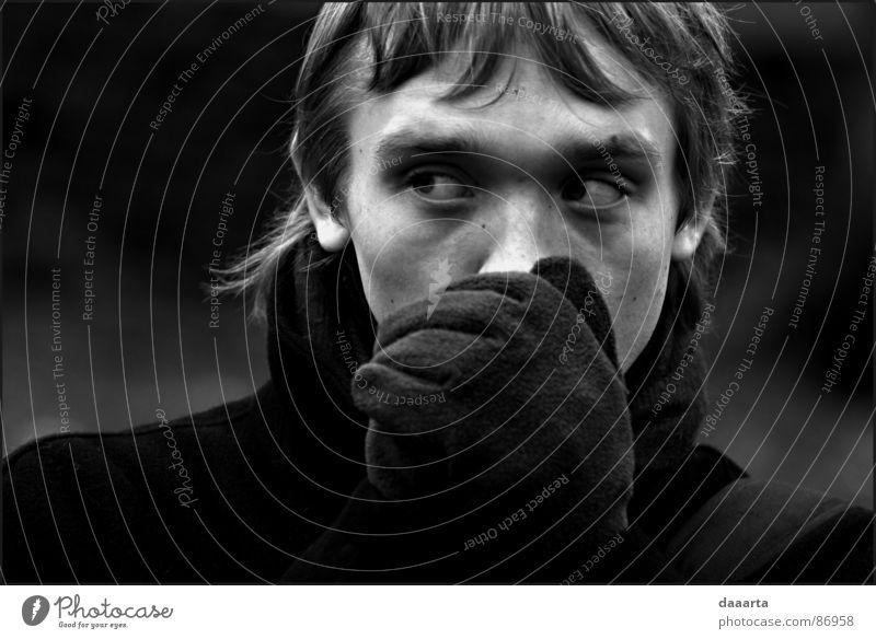 """ Riga Trust bw autumn man face emotions gloves eyes cold Exterior shot"