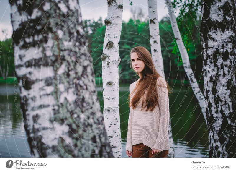 autumn Nature Youth (Young adults) Beautiful Water Tree Young woman Landscape Joy Life Feminine Style Happy Think Healthy Exceptional Leisure and hobbies