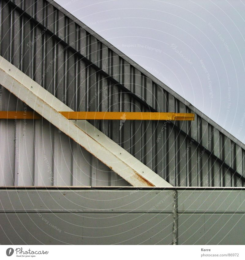 Yellow Gray Building Line Metal Architecture Modern New Corner Gloomy Roof Construction site Stripe Point Border