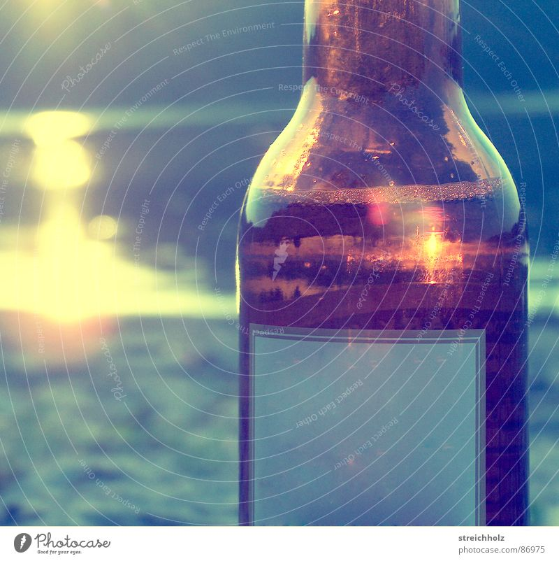 Water Sun Ocean Joy Beach Far-off places Sadness Romance River To enjoy Bottle Sunbathing Dusk Alcoholic drinks Lust Brook