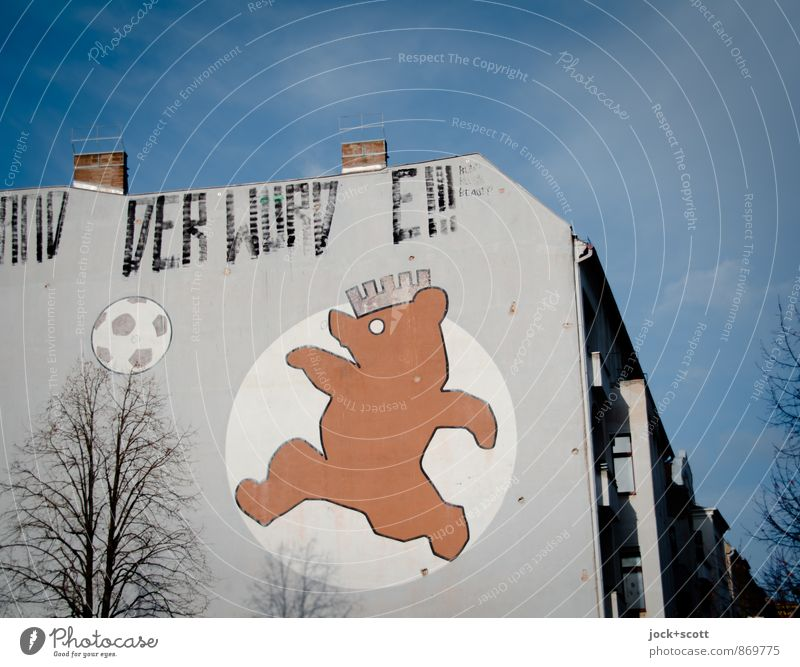 bear no longer kicking Style Soccer Foot ball Illustration Comic Sky Winter Tree Schönhauser Allee Prenzlauer Berg Town house (City: Block of flats) Fire wall
