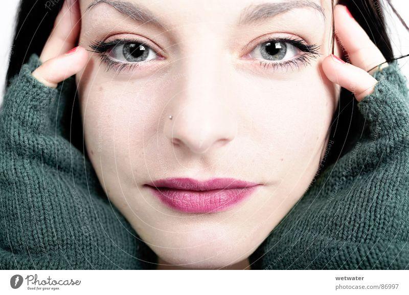 close view Gloves Grief Portrait photograph Woman Face Flirt Boredom Distress Eyes Mouth Nose Sadness sad