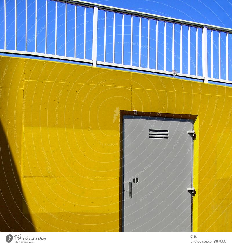 door Blue sky Illegal Architecture colorful full of colour hidden door grey tone yellow wall advertising gray shape