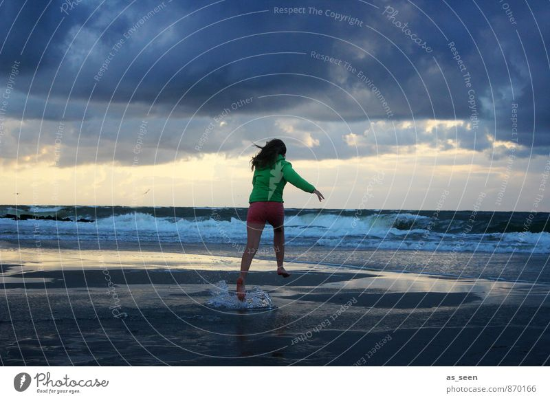 Human being Sky Child Nature Youth (Young adults) Water Relaxation Landscape Clouds Environment Feminine Coast Freedom Sand Jump Air