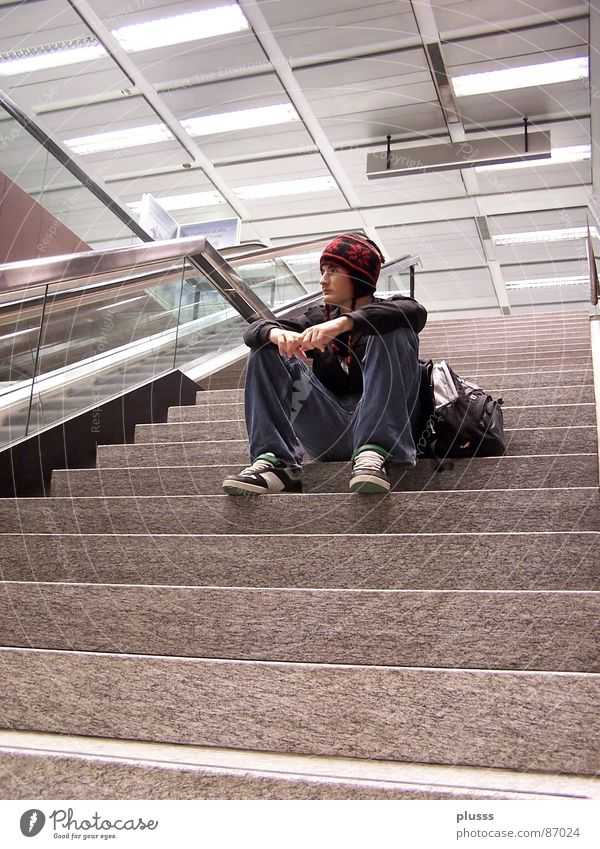 Human being Youth (Young adults) Man Loneliness Calm Young man Adults Think Style Stone Head Dream Masculine Stairs Sit Wait
