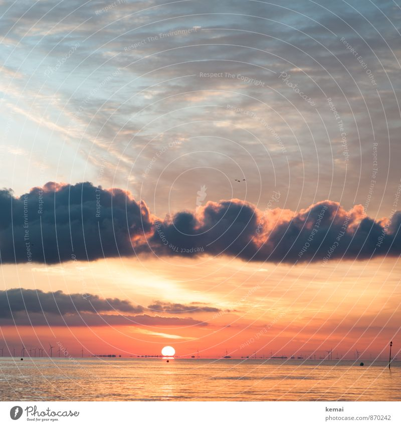 morning rest Environment Nature Landscape Water Sky Clouds Sun Sunrise Sunset Sunlight Summer Beautiful weather Waves Coast North Sea Ocean Moody Contentment