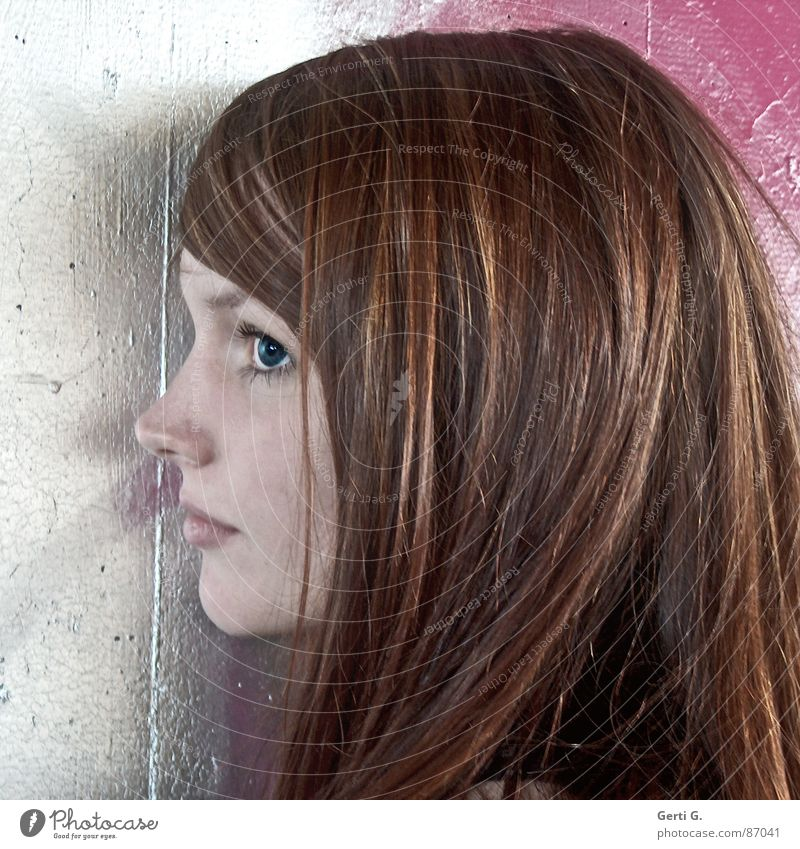 one-sided Portrait photograph Woman Wall (barrier) Facade Pink Red-haired Beautiful Long-haired Profile One-eyed Delicate Obstinate Trust monocular Human being