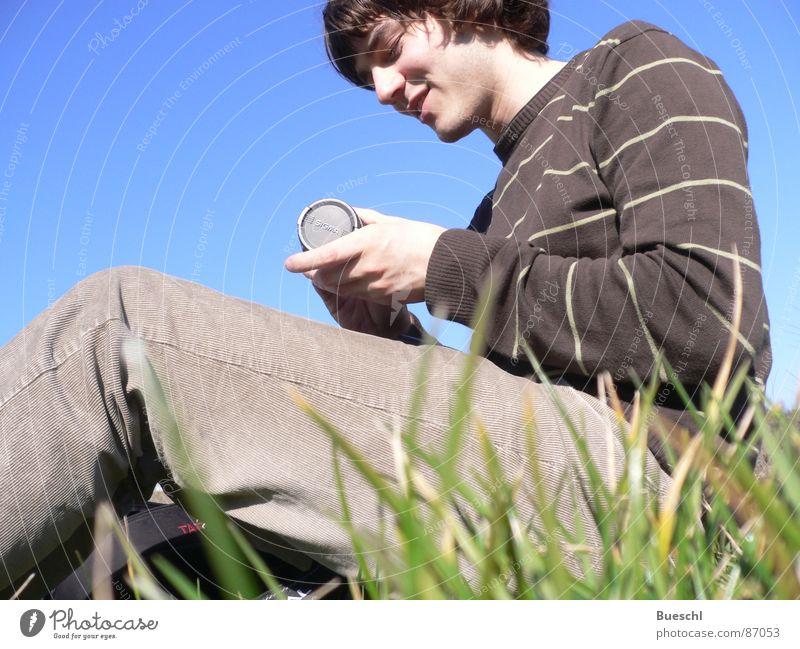Human being Sky Green Meadow Grass Sit Masculine Grass surface Objective