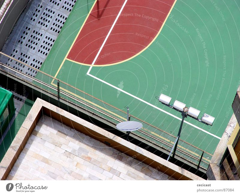 playback Rio de Janeiro American Football Department Detail court football bricks lights geometry wire fence perspective lines red space intersection order