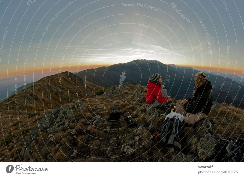 Sunset on top of the world Leisure and hobbies Mountain Hiking Human being Woman Adults Man 2 Environment Nature Landscape Sky Clouds Autumn Climate