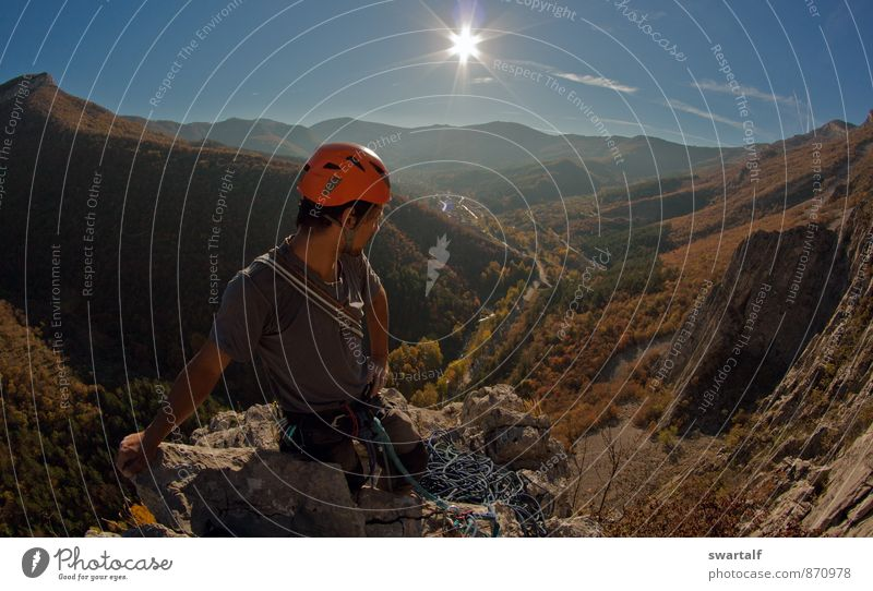After a hard climbing day Sports Climbing Mountaineering Big wall climbing Man Adults Friendship 1 Human being Nature Landscape Air Sky Sun Autumn Rock Peak