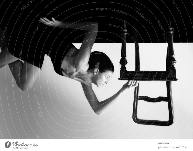 please help me hanging on Furniture Chair Woman Adults Rotate False Inverted Inappropriate Ceiling Ground Opposite Go crazy Black & white photo Profile