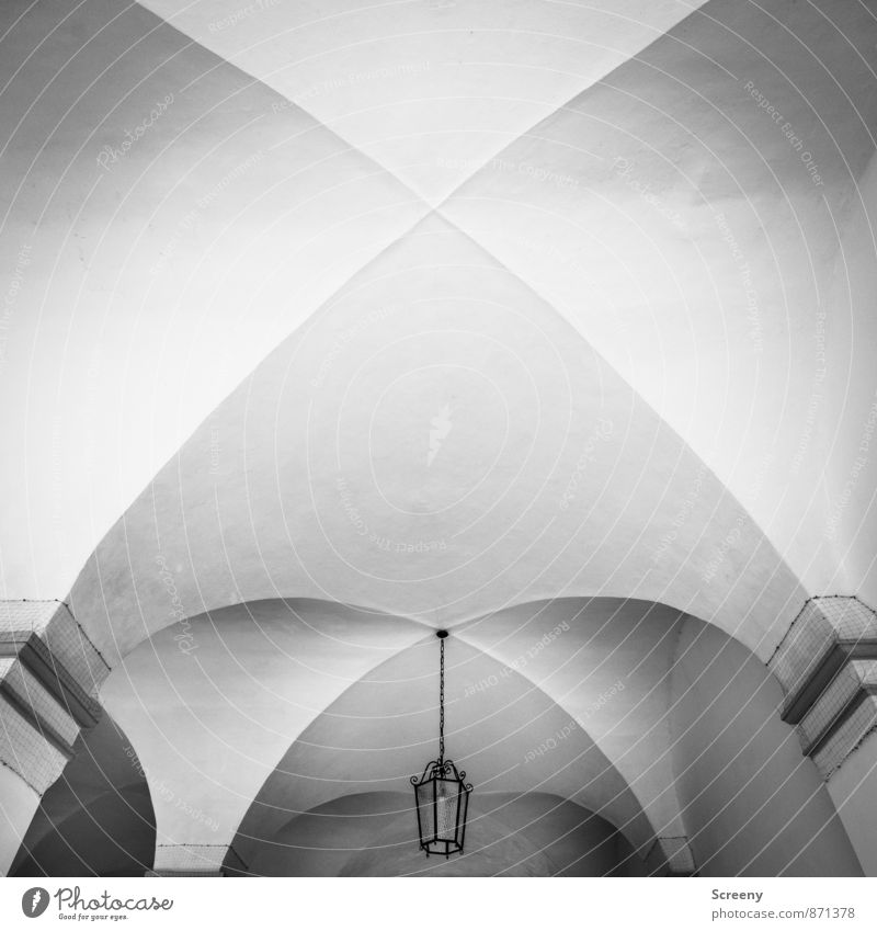 Bow Ravensburg Town Old town Manmade structures Building Architecture Wall (barrier) Wall (building) Ceiling Archway Above Lamp Black & white photo