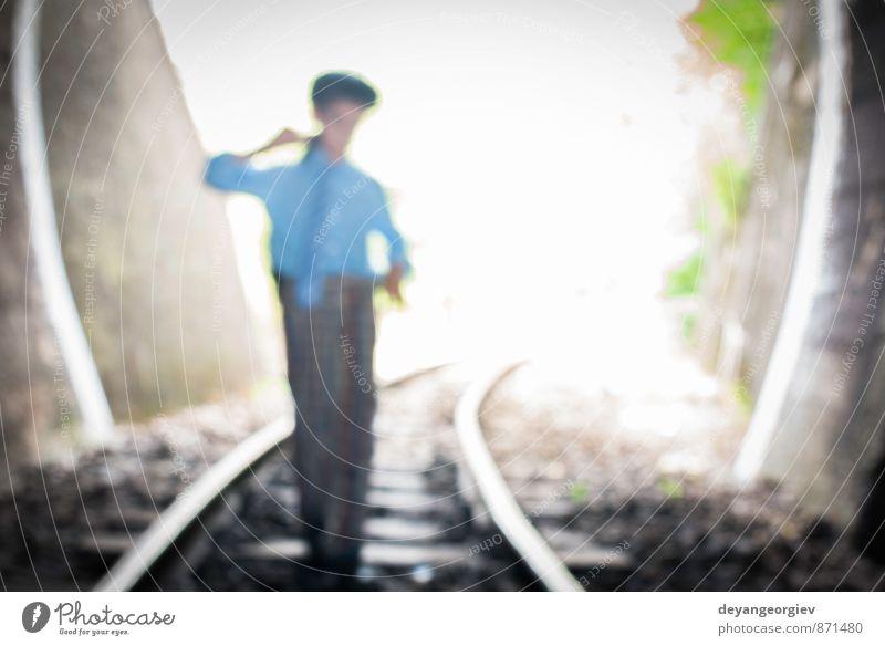 Child walking on railway road Human being Woman Child Vacation & Travel Old Beautiful Dark Adults Street Boy (child) Lanes & trails Line Transport Speed Trip Railroad