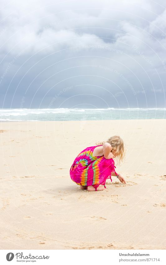 Human being Child Nature Vacation & Travel Blue Colour Summer Ocean Landscape Clouds Girl Beach Far-off places Life Playing Moody