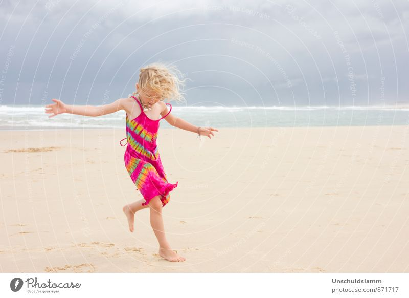 Human being Child Vacation & Travel Blue Summer Ocean Clouds Girl Beach Life Movement Emotions Playing Pink Waves Wind