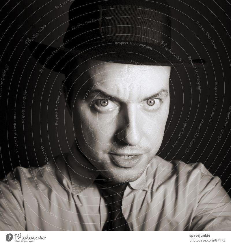 portrait Portrait photograph Tie Earnest Evil Facial expression Freak Criminal Thief Irony Dogged Fix Ferocious Appearance Joy Black & white photo
