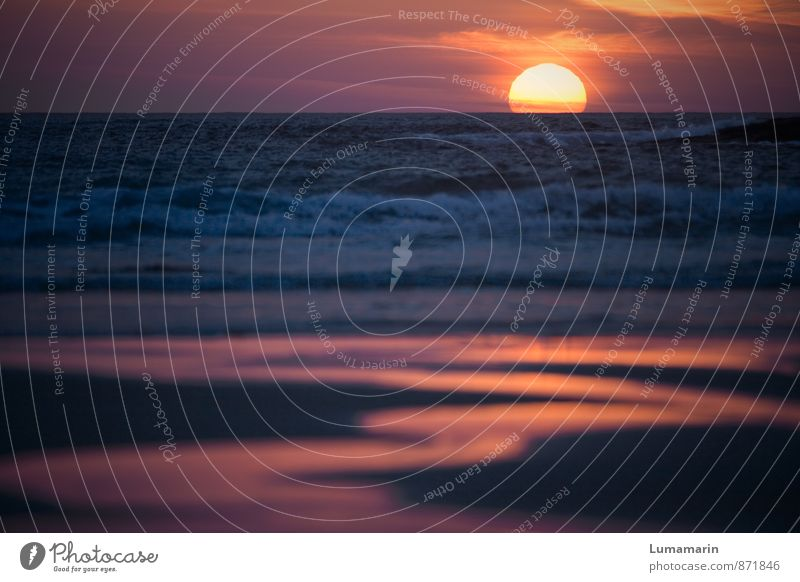 baptism of fire Landscape Elements Sand Fire Water Sky Sunrise Sunset Beautiful weather Waves Beach Ocean Large Infinity Kitsch Maritime Blue Red Moody Romance