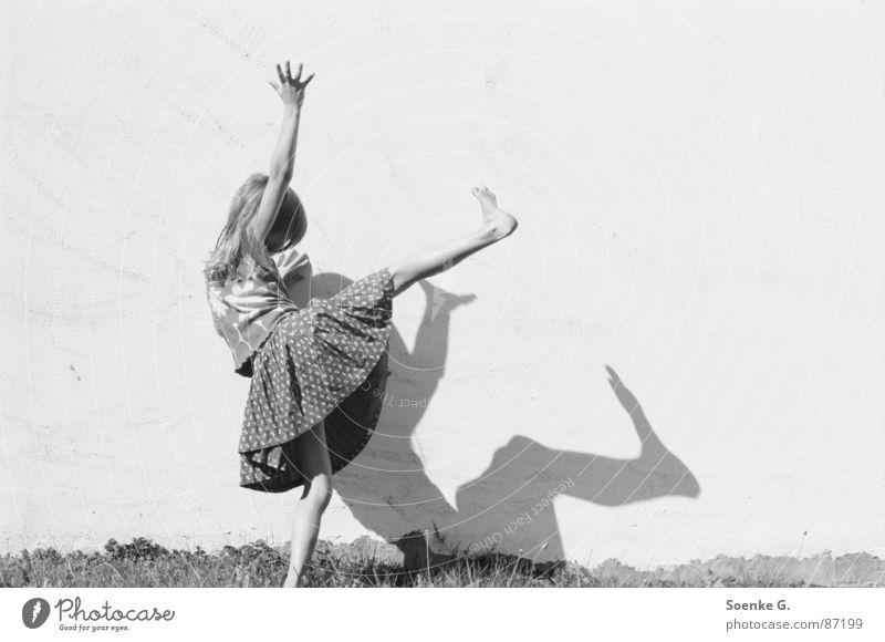 shadow play Playing Dream Meadow Hippie Darken Wall (barrier) Romp Black & white photo Joy Child Shadow little child daydream Lawn