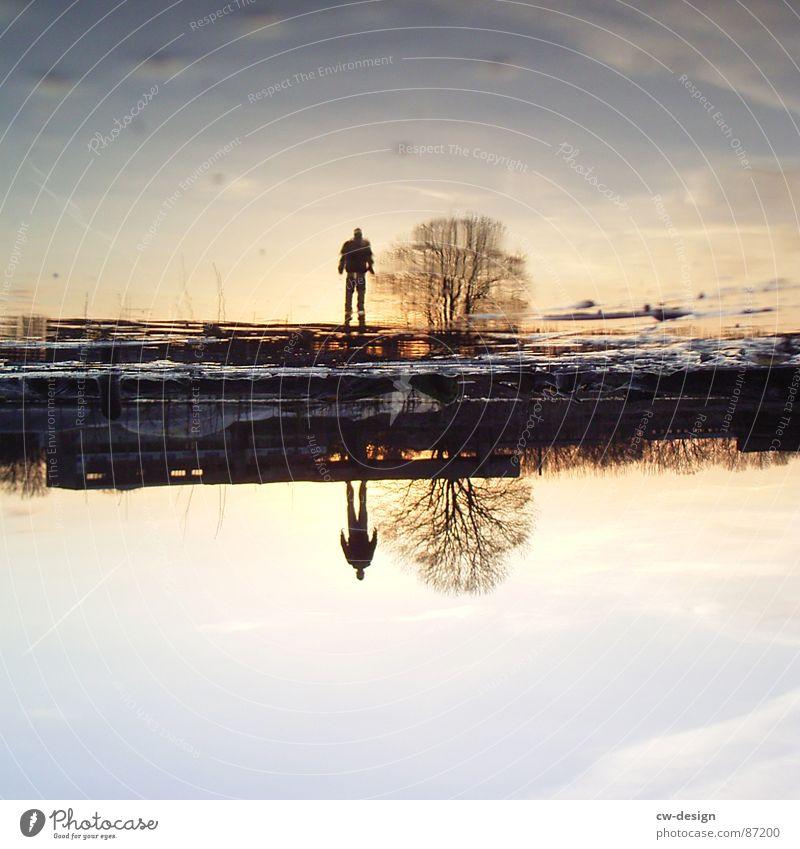 Sky Man Water Tree Clouds Black Landscape Dark Grass Happy Jump Art Moody Bright Keyword Field