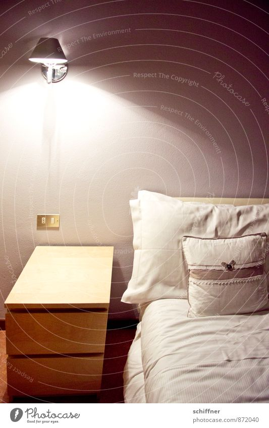 Loneliness Calm Interior design Lamp Room Gloomy Table Bed Bedclothes Furniture Hotel Retirement Bedroom Cushion Duvet Sheet