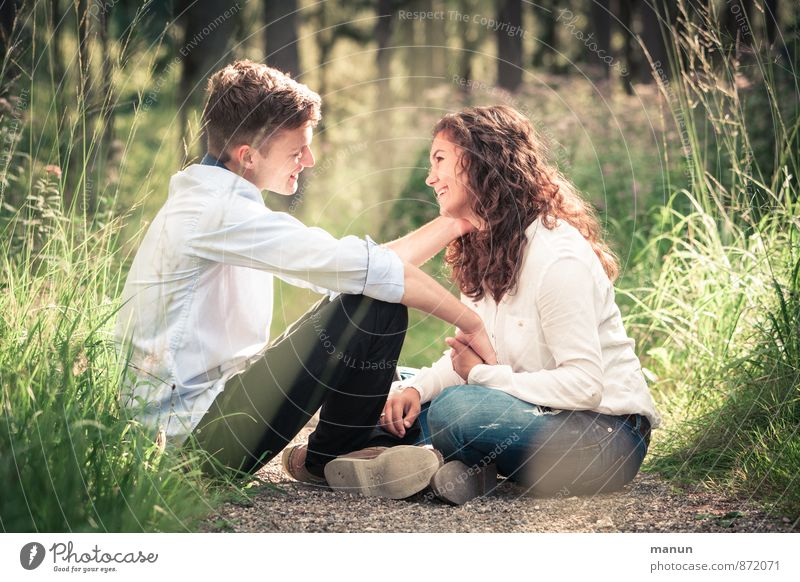 you and I Young woman Youth (Young adults) Young man Friendship Couple Partner 2 Human being Nature Forest Touch To hold on Crouch Smiling Love Looking Together