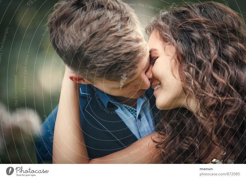 proximity Young woman Youth (Young adults) Young man Couple Partner 2 Human being 18 - 30 years Adults Touch To hold on Kissing Smiling Love Happy Natural
