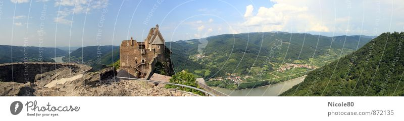 castle+danube+view Castle Ruin Old Vantage point Danube River Vacation & Travel Austria Wachau Blue sky Beautiful weather Historic valley view Colour photo