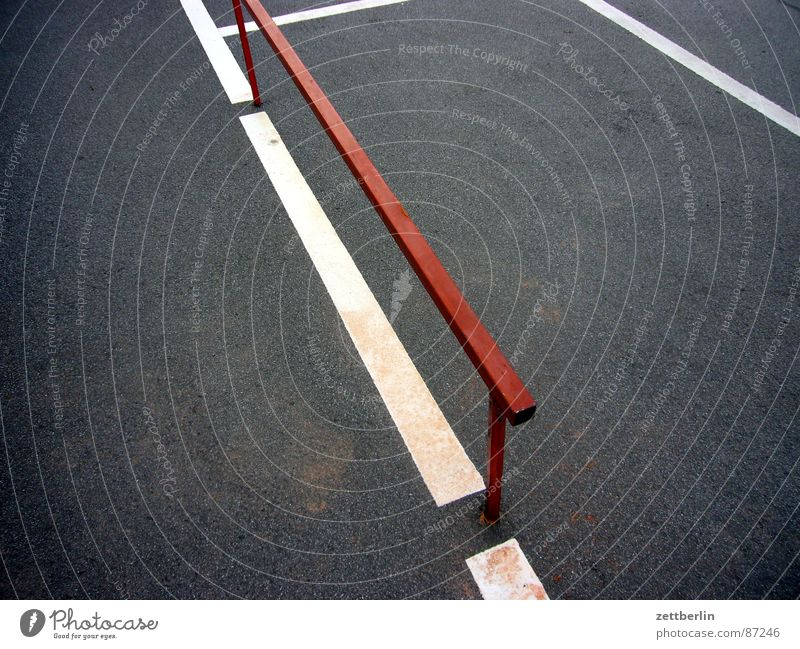 Option 3 Prop Construction Parking lot Border Metal construction Asphalt Tar Surface Abstract Contentment Rod Edge Fence Limit Parking area Pavement Dark