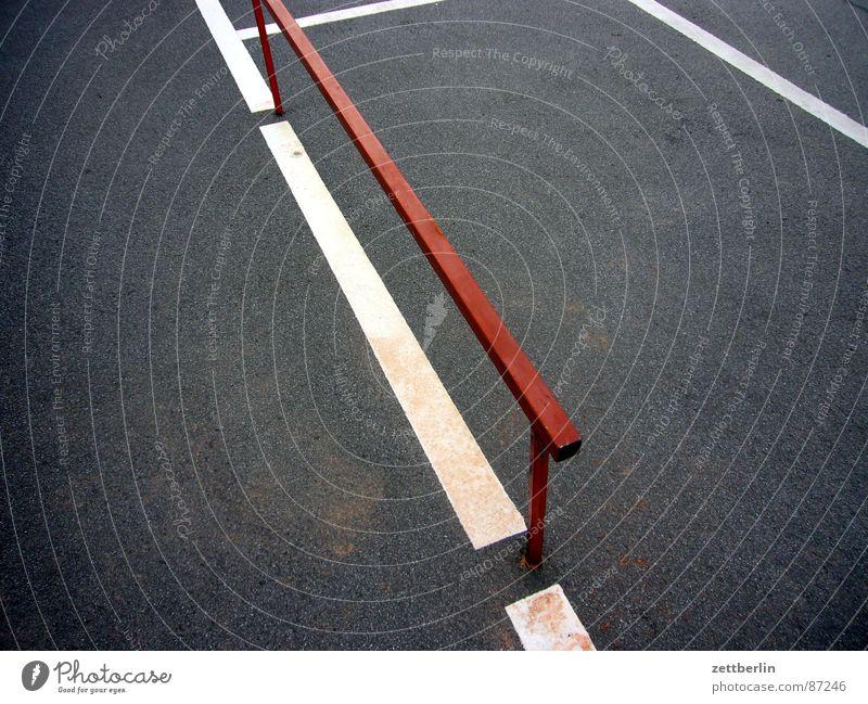 Street Dark Metal Contentment Construction site Asphalt Handrail Fence Border Traffic infrastructure Pavement Edge Parking lot Surface Tar