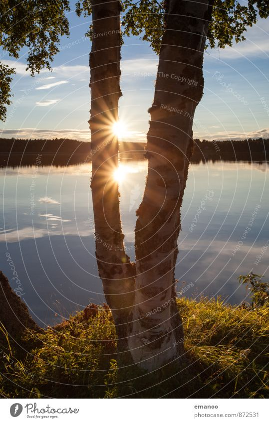 the double sun in Sweden Well-being Relaxation Calm Vacation & Travel Tourism Far-off places Freedom Summer Hiking Nature Landscape Water Sky Sun Weather