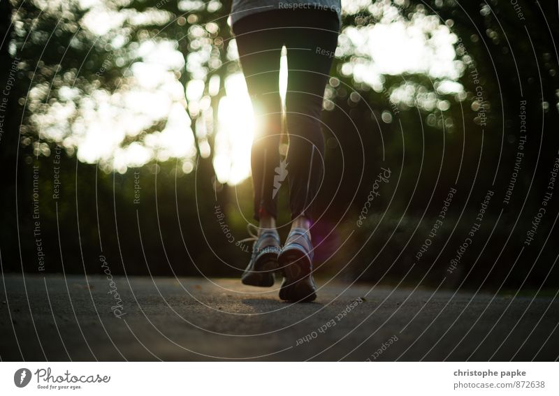 Keep on Running Lifestyle Athletic Fitness Leisure and hobbies Sports Sports Training Sportsperson Jogging Feminine Legs Feet 1 Human being Park Clothing