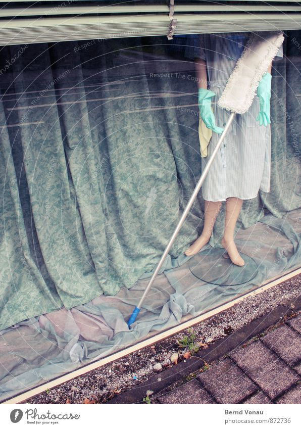 Wipe Impossible House (Residential Structure) Store premises Shop window Mannequin Blue Brown Gray Heartless Folds Cleaning Cleaner Woman Smock Drape