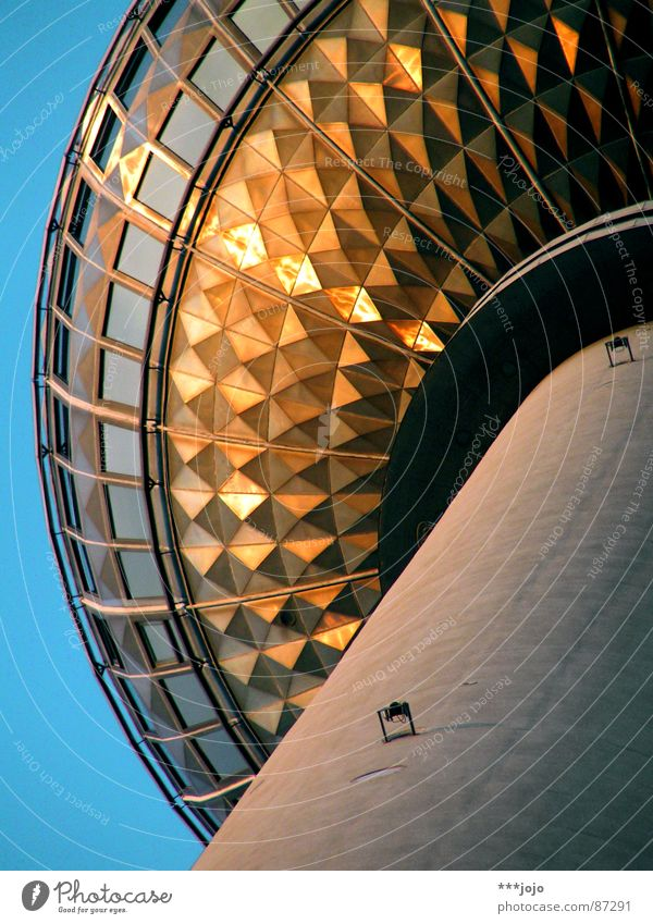Sky Far-off places Berlin Above Art Germany Glass Tall Tower Round Television Sphere Steel Monument Vantage point Café