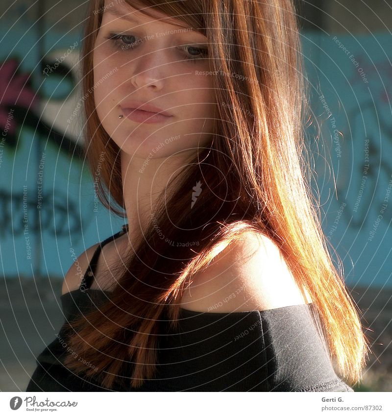Woman Human being Beautiful Think Graffiti Turquoise Thought Shoulder Long-haired Red-haired Attractive Dreamily Pensive Shaft of light