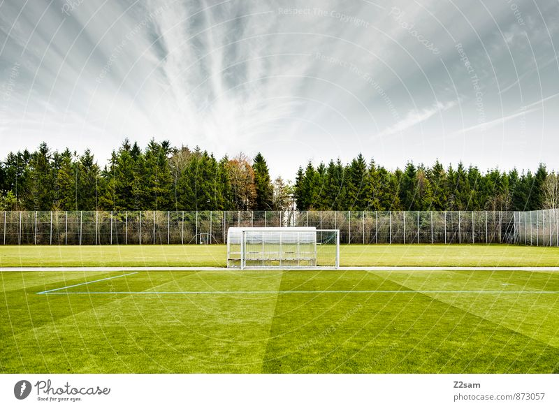 GAME R A U U M Life Leisure and hobbies Ball sports Soccer Sporting Complex Football pitch Landscape Sky Horizon Summer Tree Bushes Meadow Natural Gloomy Blue
