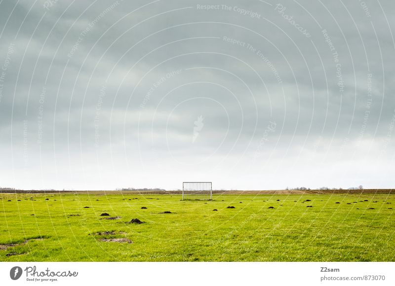 GAME R A U U M Life Leisure and hobbies Sports Ball sports Sporting Complex Football pitch Nature Landscape Sky Clouds Horizon Summer Grass Meadow Field Simple