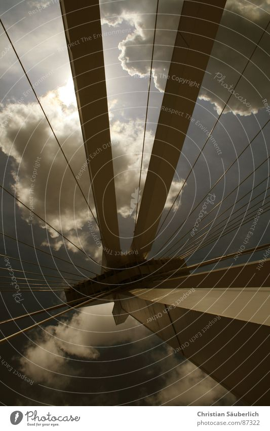 Sky Clouds Bridge Pylon Freeway Ludwigshafen Speedway race