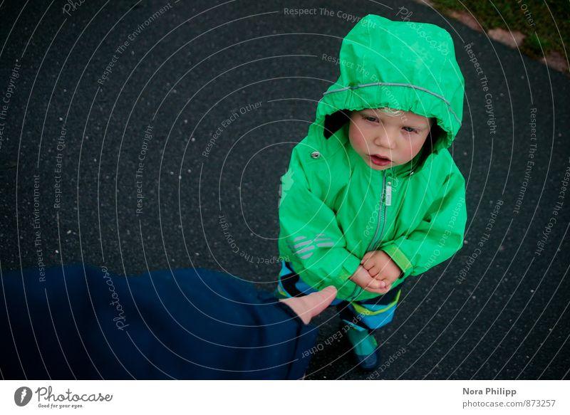 own head Body Parenting Kindergarten Human being Masculine Child Toddler Boy (child) Infancy Fingers 2 1 - 3 years Bad weather Rain Rain jacket Rubber boots